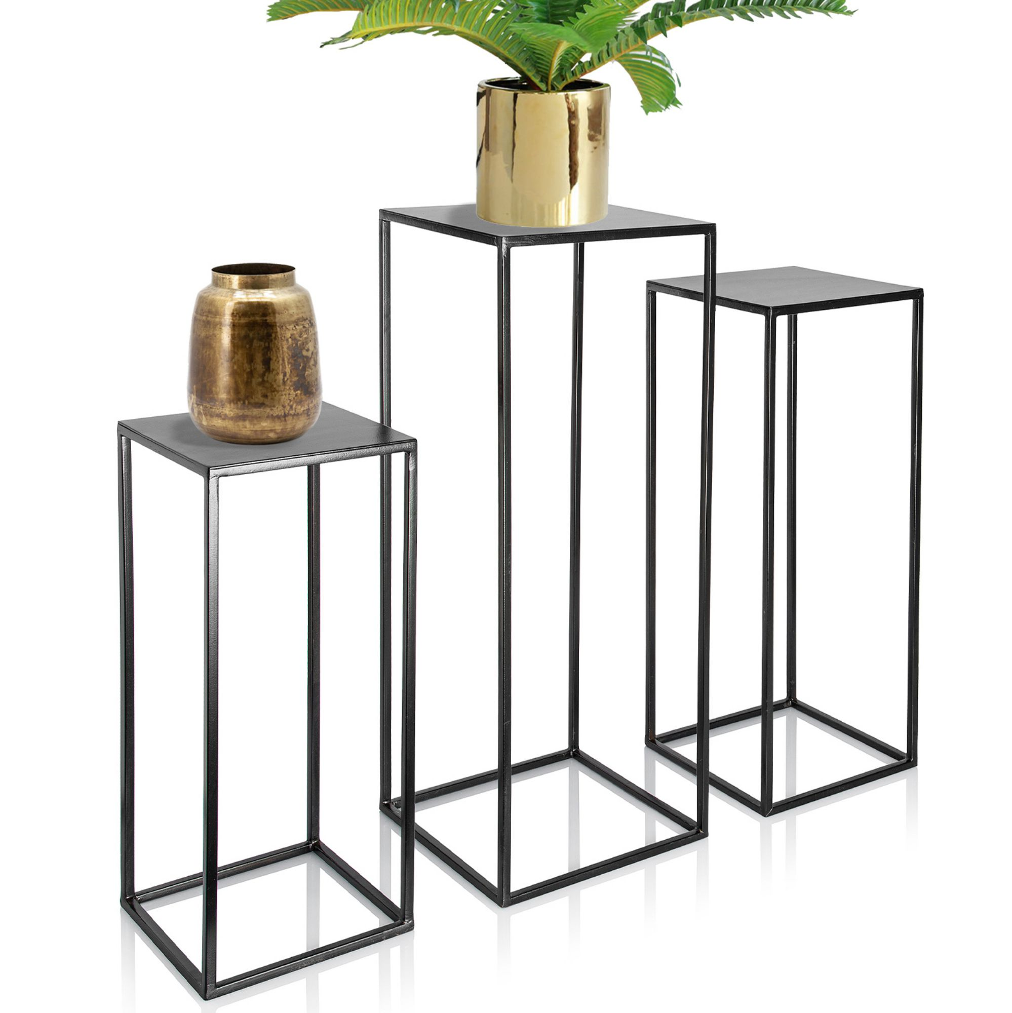 Picture of: Trio Metal Plant Stand With High Square Rack Flower Holder Kimisty